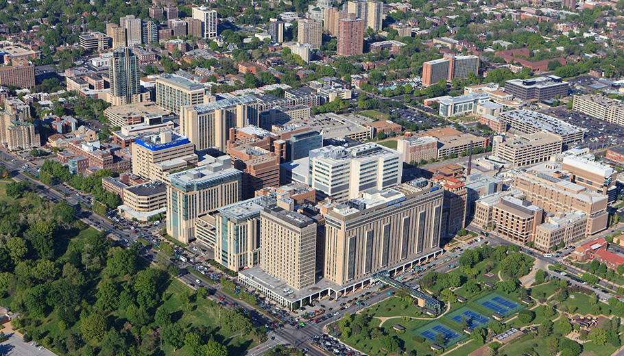 aerial view of Medical Center campus looking north-east