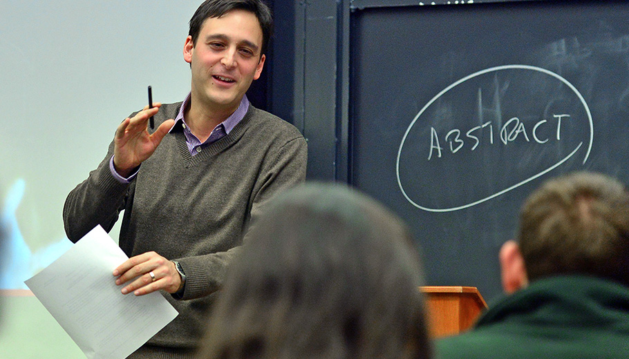 Assistant Professor Ignacio Infante teaches his World Literature class.