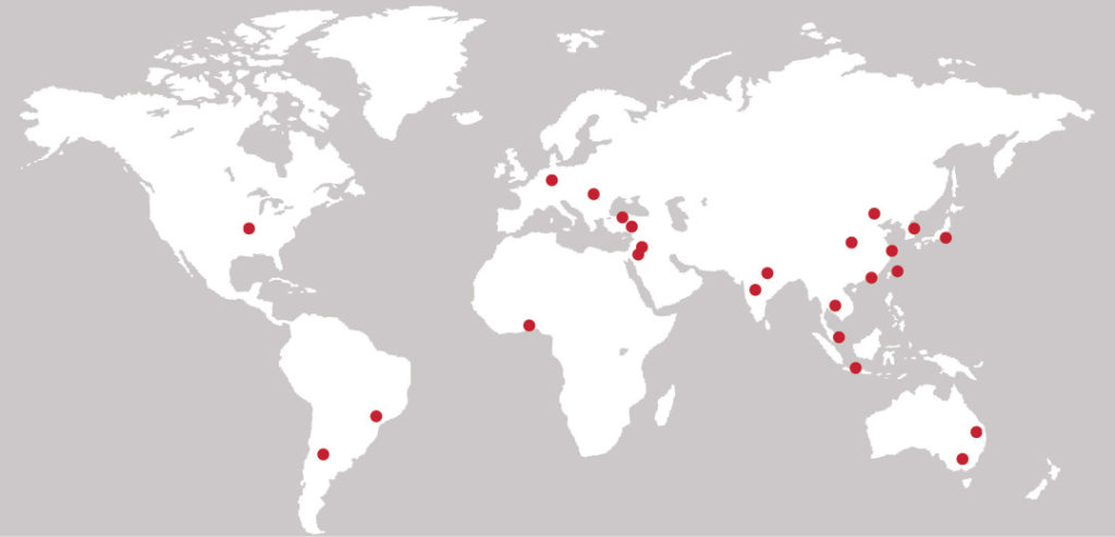 map of the 30 research universities around the world that partner with Washington University