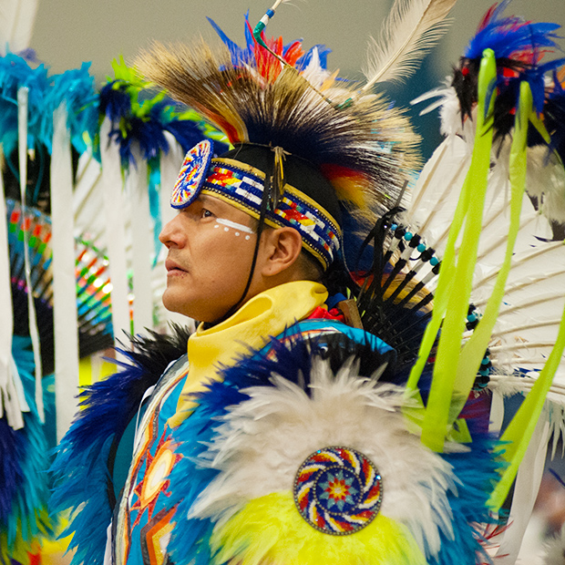 American Indian in traditional dress