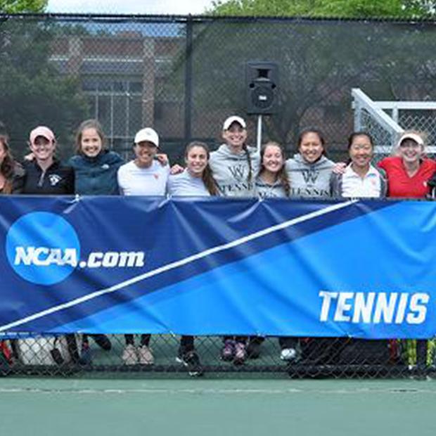 WashU Women's Tennis with NCAA banner