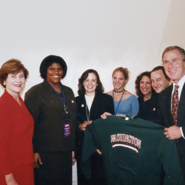 Michelle Purdy with the Bushes, Chancellor Wrighton and others at the 2000 debate