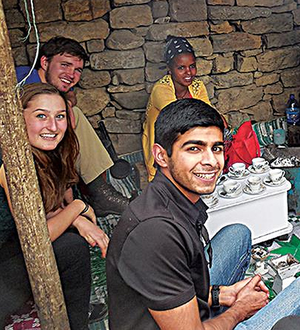 Pierce Dhaese, Maya Poncelet and Ryan Sharma, all juniors majoring in Engineering, in Ethiopia with Engineers Without Borders.