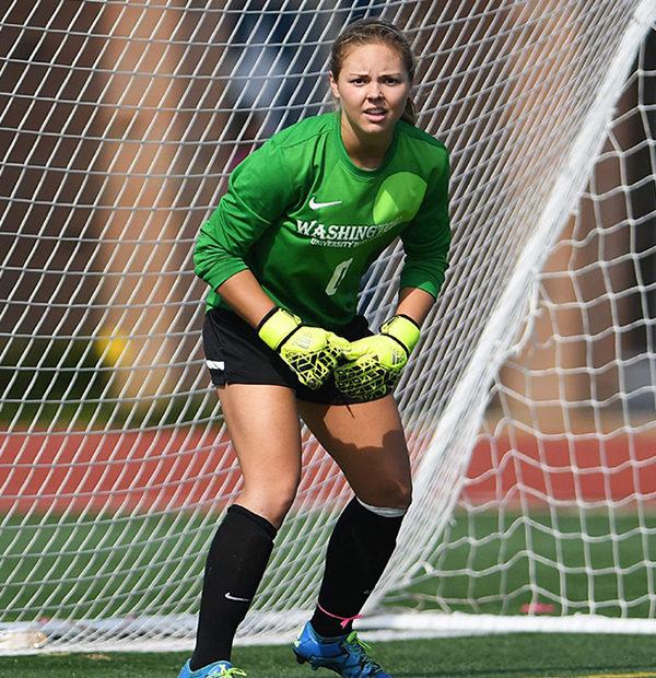 Lizzy Crist in soccer goal