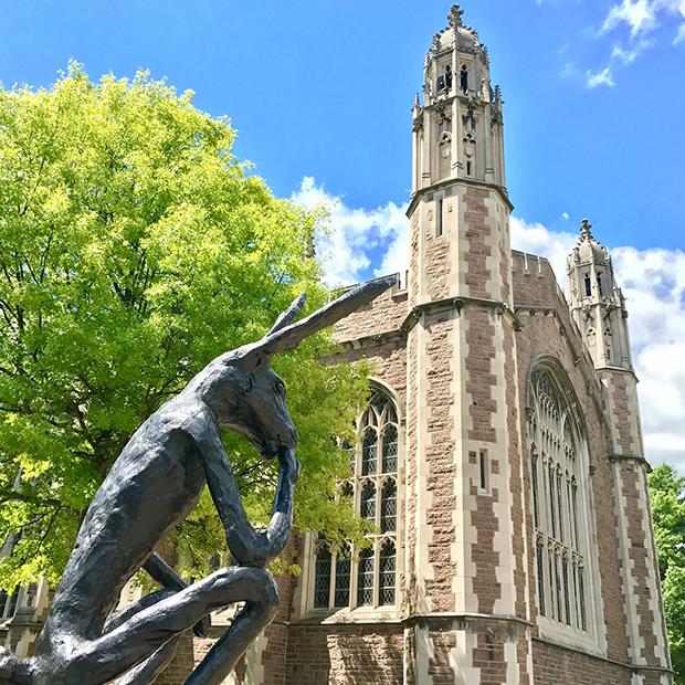 Rabbit statue and Graham Chapel