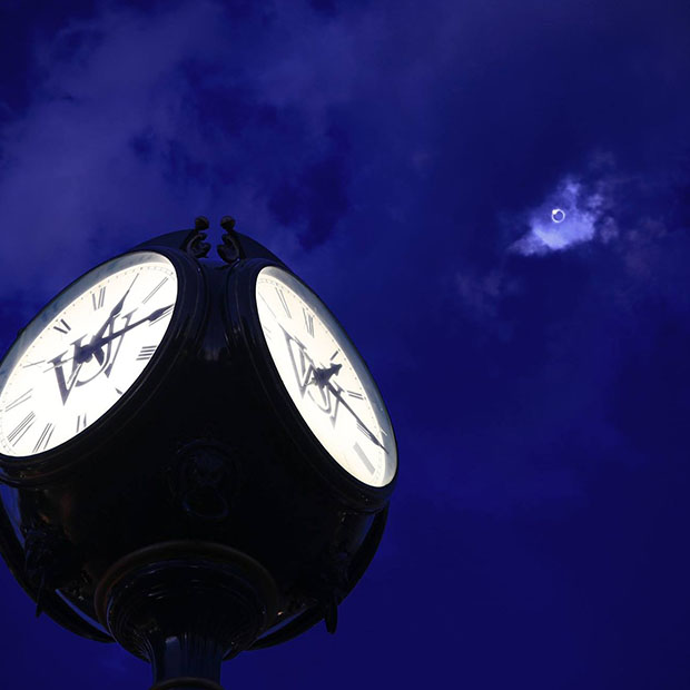 South 40 clocktower and solar eclipse