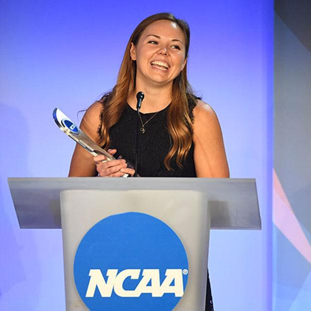 Lizzy Crist at NCAA podium