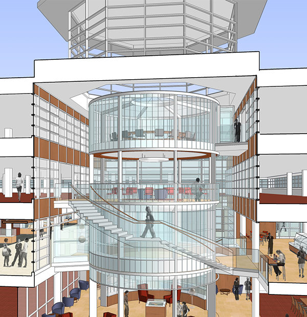 rendering of the Newman Tower of Collections and Exploration