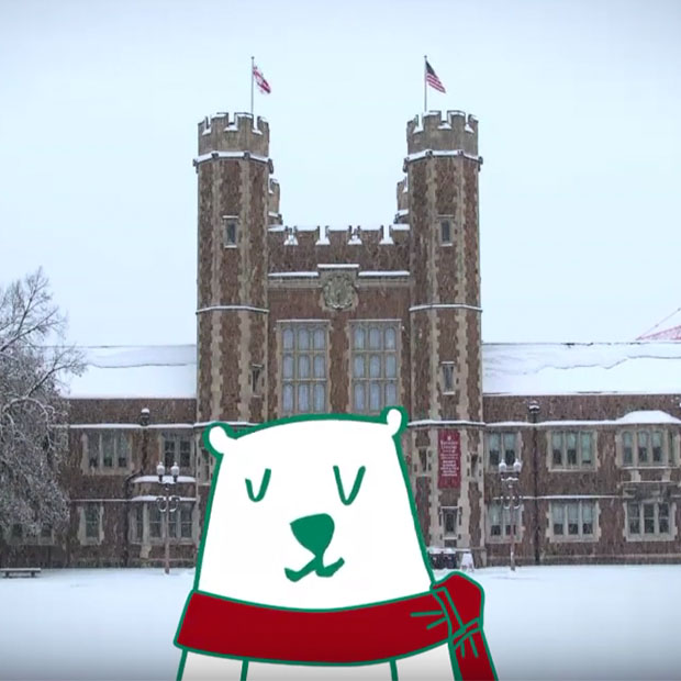 Bear illustration in front of Brookings Hall in snow photo
