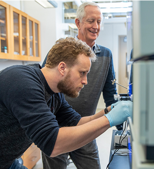 Vierstra works with postdoctoral research associate Fionn McLoughlin at his laboratory