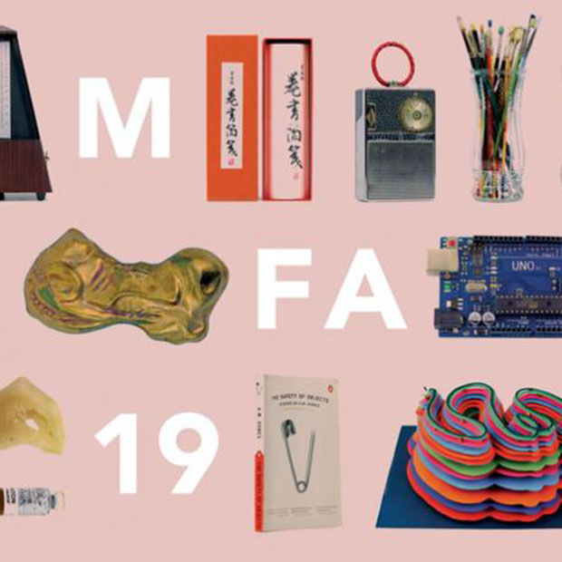 MFA19 surrounded by art objects