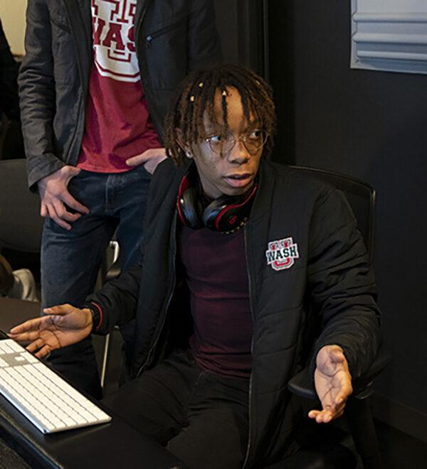 WashU senior J.T. Bridges in recording studio