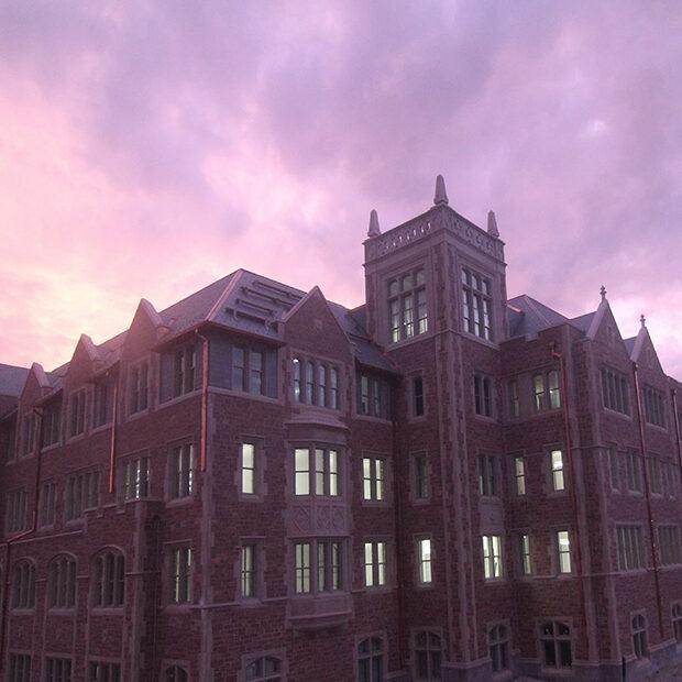 McKelvey Hall at dusk with purple skies
