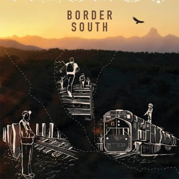 """""""Border South"""" is written at top of image showing a blurry shadowy landscape with chalk drawings of figures in front"""