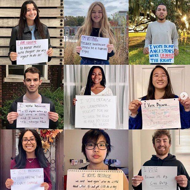grid image of students holding signs with the reasons they voted