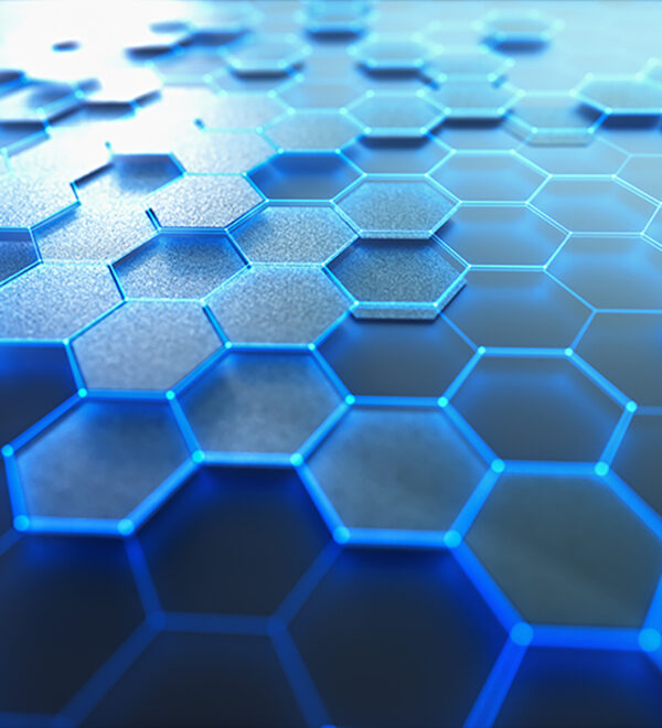 blue glowing honeycomb pattern cells