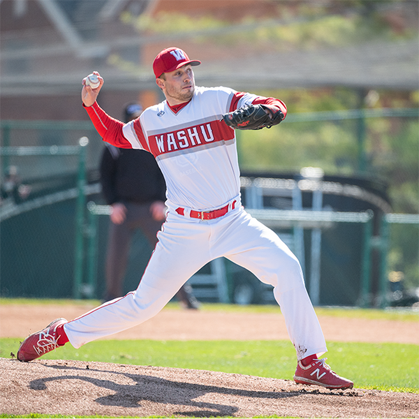 WashU baseball player throwing a pitch