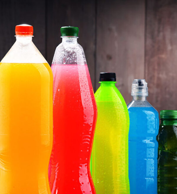 colorful sugary drinks in bottles